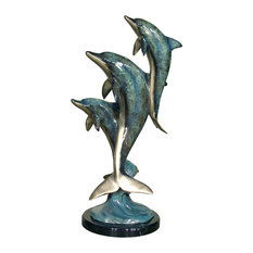 Dolphin Family Bronze Sculpture With Marble Base, Special Patina Finish