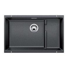 """Blanco 519450 18.13""""x28.8"""" Granite Single Undermount Kitchen Sink, Anthracite"""