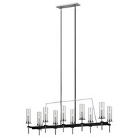 Broderick 10 Light Linear Chandelier in Textured Black with Clear Glass Columns
