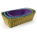 "Neoflam - PLASKET Multicolor 3 Piece Rectangle Poly Wicker Basket Set - Plasket Sizes: 13"" diameter, 11"" diameter, and 9"" diameter"