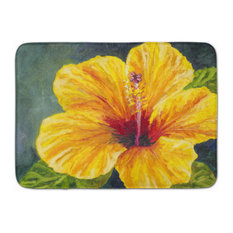 Yellow Hibiscus By Malenda Trick Machine Washable Memory Foam Mat