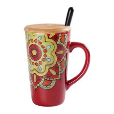 Ethnic Style Coffee Milk Mugs With Cover and A Spoon Red