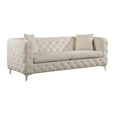 Meridian Furniture - Scarlett Cream Velvet Sofa - Sofas