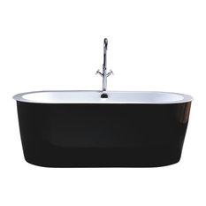 Vanity Art Freestanding Acrylic Bathtub, Black and White, Large