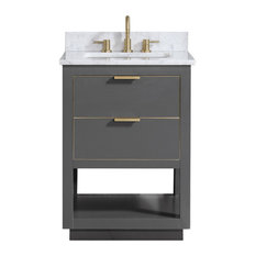 "Allie 25"" Vanity, Twilight Gray With Gold Trim, Natural 1"" Carrara"