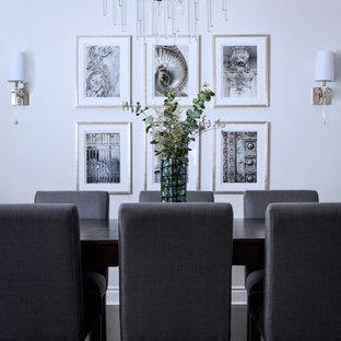 Свежая идея для дизайна: гостиная-столовая среднего размера в стиле модернизм с кессонным потолком без камина - отличное фото интерьера