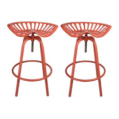 NACH Rustic Tractor Seat/Stool, Set of 2, Red