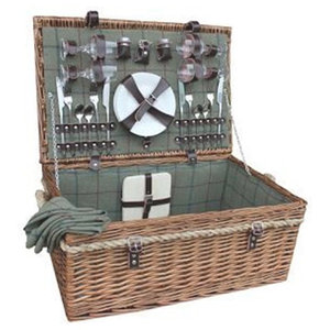 Deluxe Rope Handled Green Tweed Fitted Picnic Basket, 4 Person