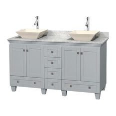 "Wyndham Collection - Acclaim 60"" Double Vanity, Oyster Gray, Carrera Marble Top, Pyra Bone Sinks - Bathroom Vanities and Sink Consoles"