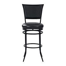 Rachel Swivel Bar Stool Black With Black Cushion