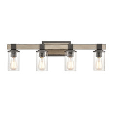 Crenshaw 4-Light Vanity Light In Anvil Iron And Distressed Antique Graywood