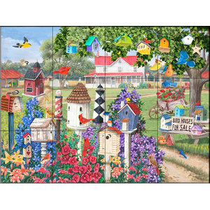 Tile Mural, Birdhouses for Sale - MT, 43.2x32.4 cm
