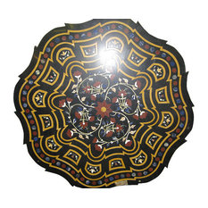 Mogul Interior - Consigned Inlay Black Marble Floral Jasper Malachite Round Table Top India - Table Tops And Bases