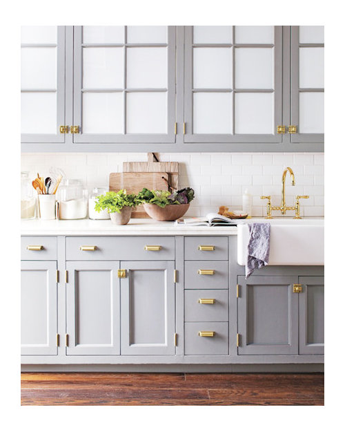 Grey Kitchen With Brass Hardware?