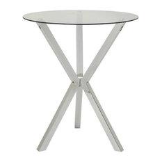 Coaster Contemporary Glass Top Pub Table in Chrome