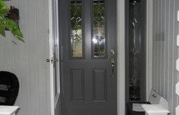 Gray Front Door with Storm Door