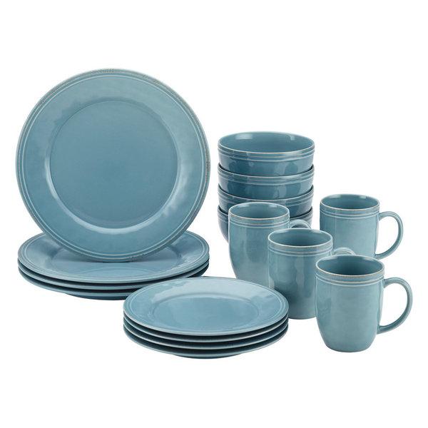 Cucina Dinnerware 16-Piece Stoneware Dinnerware Set, Agave Blue