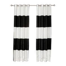 """Striped Dupioni Faux Silk Blackout Curtains, Pair, Black, 52""""x84"""""""