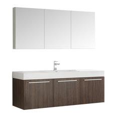 Fresca Vista 60-inch Walnut Single Sink Modern Bathroom Vanity With Medicine Cabinet