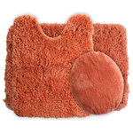 Lavish Home - 3 Piece Super Plush Non-Slip Bath Rug Mat Set, Rust - Add a touch of luxury to your bathroom with the 3 Piece Super Plush Non-Slip Bath Rug Mat Set by Lavish Home.