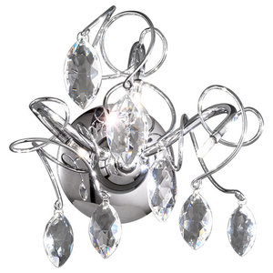 Chantilly Chrome and Crystal Glass 3-Light Wall Light