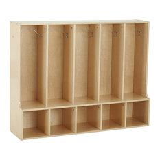 Birch Streamline 5-Section Toddler Coat Locker With Bench