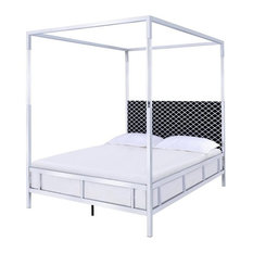 ACME Raegan Queen Poster Bed in Acrylic Chrome and Fabric