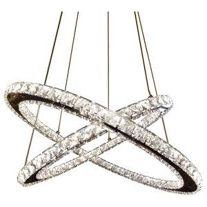 Clover 2-Ring 168-LED-Light Decorative Ceiling Pendant, Chrome
