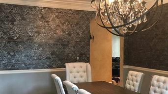Carmel, Indiana Custom Stenciled Metallic Dining Room