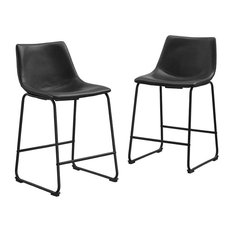 """26"""" Industrial Faux Leather Counter Stools, Black"""