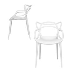 Masters Entangled Chair, Modern, Stackable, Set of 2, White