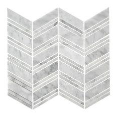 "Bianco Carrara Chevron Honed Mosaic, 12""x12"""