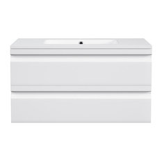 Wallace White Floating Bathroom Vanity, 35""