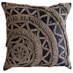 Black Art Silk 55x55 3D Jute Wheel Cushions Cover, Jute Rebel