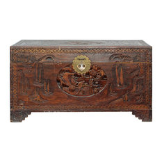 Consigned Oriental Asia Brown Relief Scenery Motif Carving Trunk Table Hcs4349