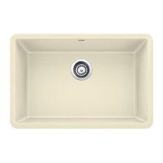 "Blanco Precis Silgranit 27"" Single Bowl Kitchen Sink, Biscuit"