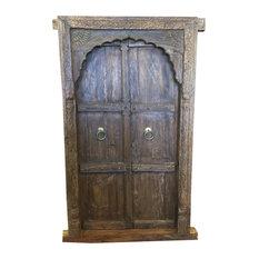 Consigned Antique Vintage Teak Window Terrace Door Arched MEhrab Carved Jharokha