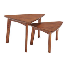 "Monterey 40"" Triangular Mid-Century Modern Nesting Tables, Warm Chestnut"