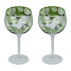 Set of 2 Tropical Leaves Gin Glasses