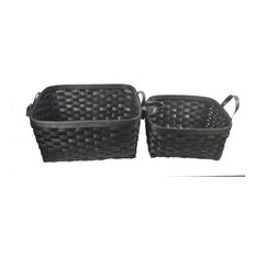 Woven Patches 2-Piece Wicker/Rattan Basket Set, Black