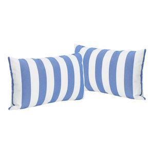 GDF Studio La Mesa Indoor Striped Rectangular Pillow, Blue, Set of 2