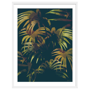 """""""It's A Jungle Out There"""" Tropical Art Print, White Framed, 50x70 cm"""