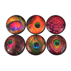 6 Piece Set Peacock Feather Cabinet Knobs