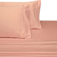 300 Thread Count 100% Cotton Solid Sheet Set, Blush, Twin Xl