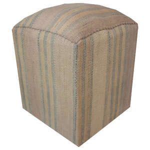Modern Kilim Cube Stool With Grey Cover
