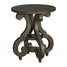 Magnussen Bellamy Round Accent End Table, Weathered Pine