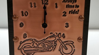 "Copper Engraved Biker Clock, IN STOCK, ""Always Time to Ride!"" Motorcycle 7th Ann"