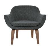 Madison Plywood Chair, American Walnut Base, Dark Gray Camira Wool