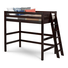 Camaflexi Twin, High Loft Bed, Mission Headboard, Lateral Ladder, Cappuccino