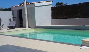 Piscine, pose liner, filtration, plages et terrasse en tapis de pierre